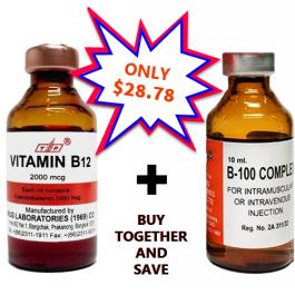 Vitamin B12 2000mcg and B100 B-Complex 10ml Vial Injection