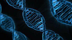blue dna gene with black background