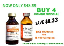 BUY 4 Combo -  Vitamin B12 1000mcg + B100 B-Complex